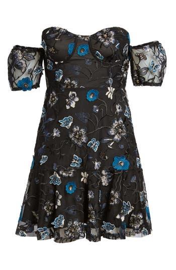For Love & Lemons Bontanic Off The Shoulder Dress, Black