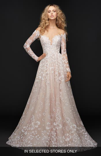 Hayley Paige Stevie Illusion Off The Shoulder Gown, Size IN STORE ONLY - Pink
