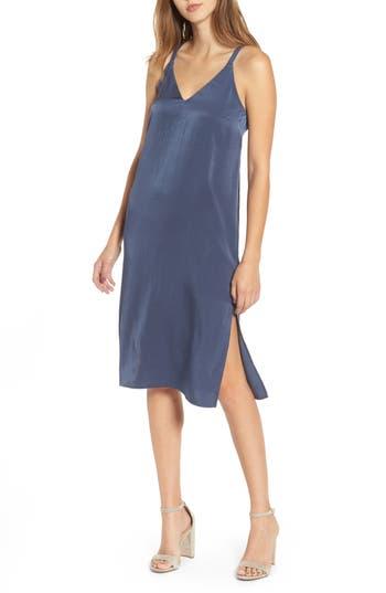 Everly Satin Midi Slipdress, Blue