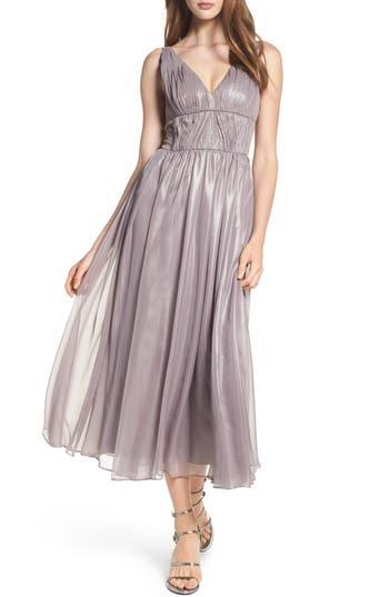 Vera Wang Empire Waist Ruched Cocktail Dress, Grey
