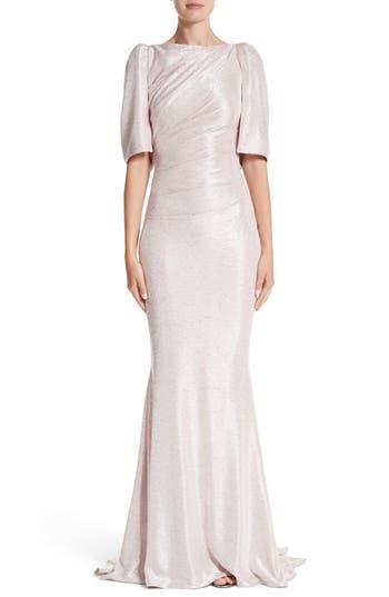 Talbot Runhof Metallic Cloque Mermaid Gown, Pink