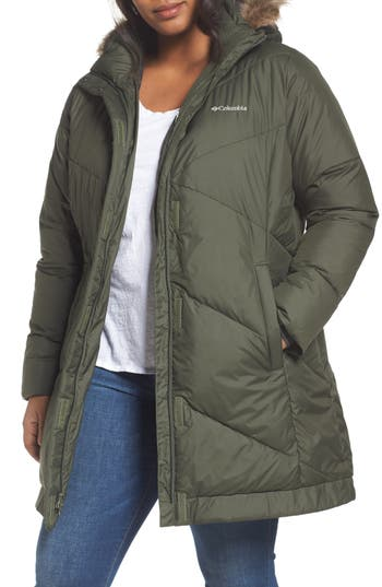Plus Size Columbia Snow Eclipse Water Resistant Insulated Jacket With Faux Fur Trim, Green