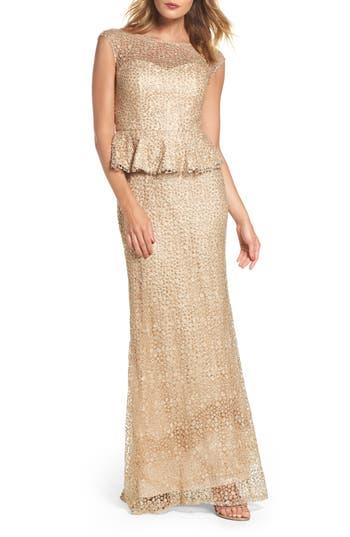 La Femme Embellished Lace Peplum Gown, Beige
