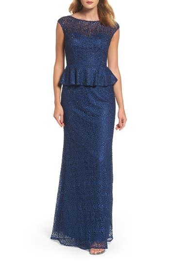 La Femme Embellished Lace Peplum Gown, Blue