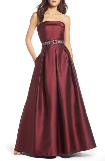 Eliza J Embellished Belt Strapless Gown, Red