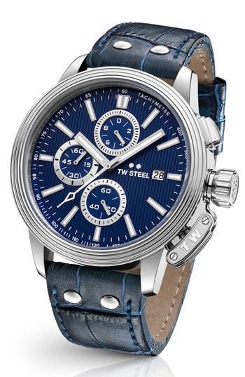 Men's Tw Steel Ceo Adesso Chronograph Leather Strap Watch, 48Mm