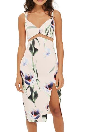 Topshop Mesh Inset Tulip Print Midi Dress, US (fits like 0) - Pink
