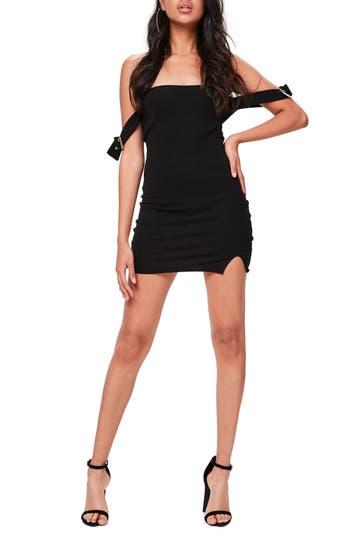 Missguided Bardot Buckled Body-Con Dress, US / 6 UK - Black