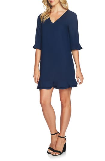 Cece Kate Ruffle Shift Dress, Blue