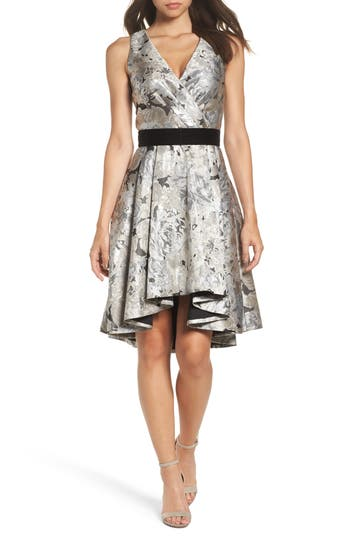 Eliza J Jacquard High/low Dress, Metallic