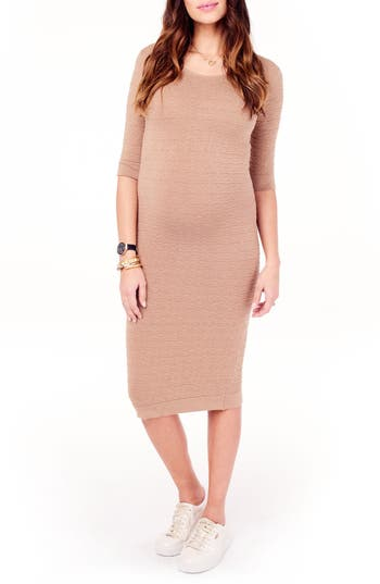 Ingrid & Isabel Sweater Knit Maternity Sheath Dress, Beige