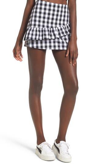 Love, Fire Ruffle Front Miniskirt, Black