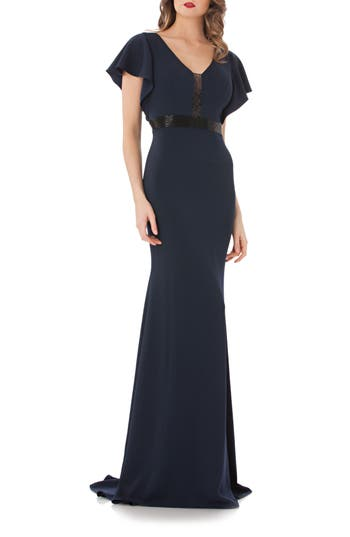 Carmen Marc Valvo Infusion Beaded Flutter Sleeve Gown, Blue
