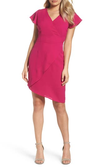 19 Cooper Crepe Asymmetric Sheath Dress, Pink