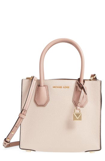 41dafd27183f Michael Michael Kors Medium Mercer Leather Tote - Pink In Soft Pink/ Ecru/  Fawn