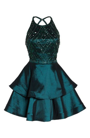 Sean Collection Beaded Tiered Fit & Flare Dress, Green