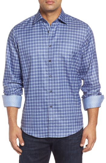 Men's Bugatchi Classic Fit Windowpane Denim Sport Shirt