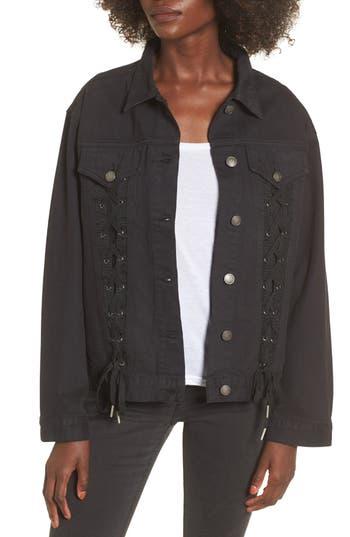 Women's Chloe & Katie Lace-Up Denim Jacket, Size X-Small - Black
