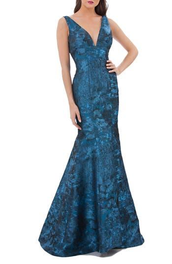 Carmen Marc Valvo Infusion Plunging Brocade Mermaid Dress, Blue