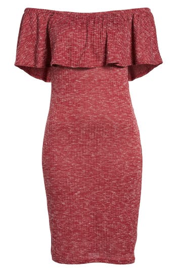 Mimi Chica Off The Shoulder Ruffle Knit Dress, Red