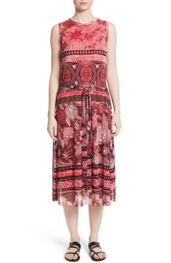 Fuzzi Print Tulle Midi Dress, Pink