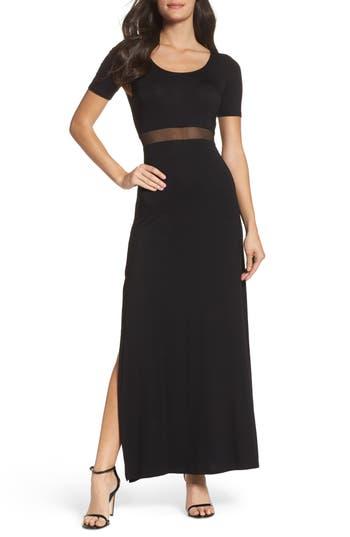 Lulus Mesh Inset Maxi Dress, Black