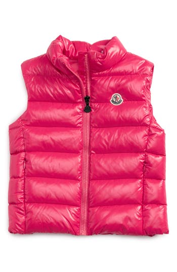 Girl's Moncler Ghany Water Resistant Shiny Down Puffer Vest, Size 12Y - Pink