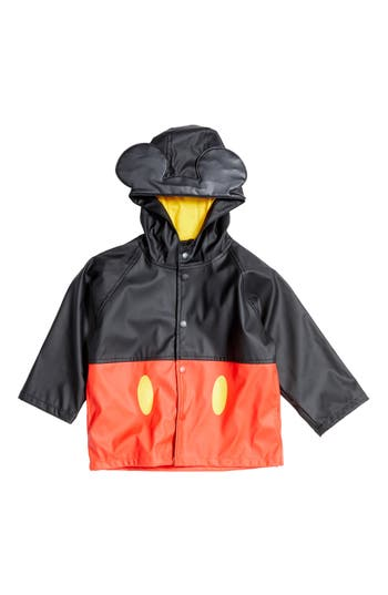 Boys Western Chief Mickey Mouse Hooded Raincoat Size 5  Red