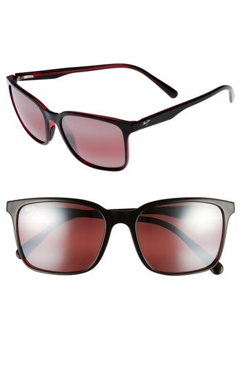 Maui Jim Wild Coast 5m Polarized Sunglasses - Black With Red/ Maui Rose