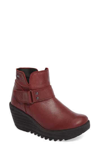 Fly London Yock Waterproof Gore-Tex Wedge Boot, Red