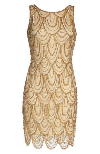 Pisarro Nights Embellished Mesh Sheath Dress, Metallic