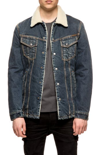 Nudie Jeans Lenny Fleece Lined Denim Jacket, Blue