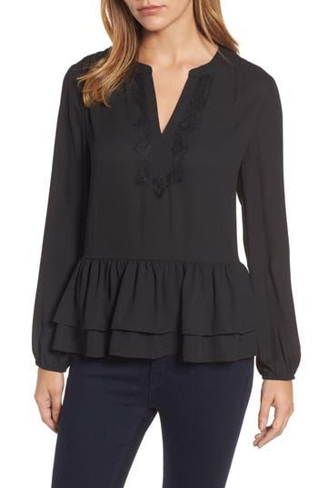 Women's Bobeau Double Ruffle Hem Split Neck Top, Size X-Small - Black