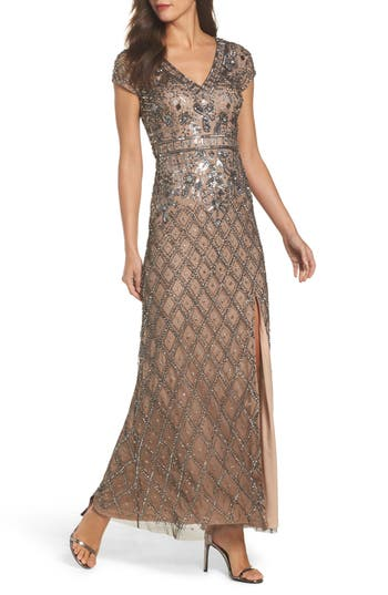 Adrianna Papell Beaded V-Neck Mesh Gown, Beige