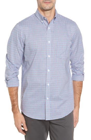 Nordstrom Shop Non-Iron Regular Fit Check Sport Shirt, Blue