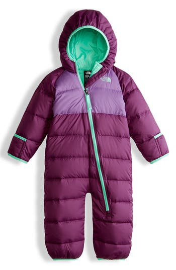 Infant Girl's The North Face Lil' Snuggler Water-Resistant Down Bunting, Size 12-18M - Purple