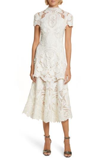 Jonathan Simkhai Applique Lace Midi Dress, Ivory