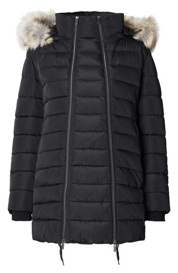 Noppies Bella Two-Way Quilted Maternity Coat with Faux Fur Trim