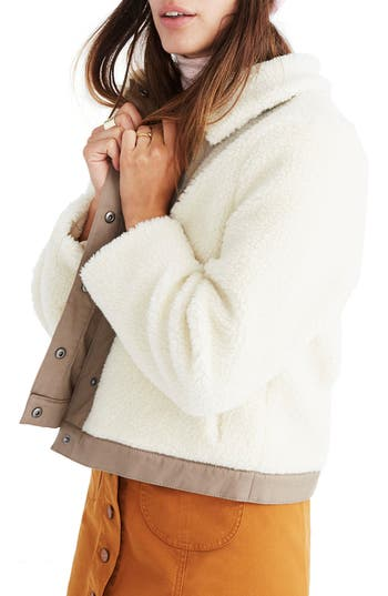 Women's Madewell Portland Faux Shearling Jacket, Size XX-Small - White