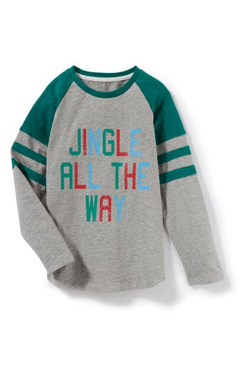 Boy's Peek Jingle All The Way Long Sleeve Raglan T-Shirt, Size M (6-7) - Grey