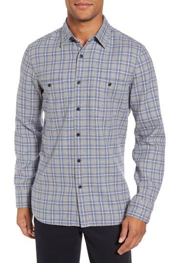 Nordstrom Shop Workwear Duofold Check Sport Shirt, Blue