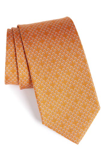 Men's Salvatore Ferragamo Geometric Print Silk Tie, Size Regular - Orange