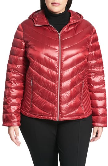 Plus Size Calvin Klein Packable Quilted Down Jacket, Red