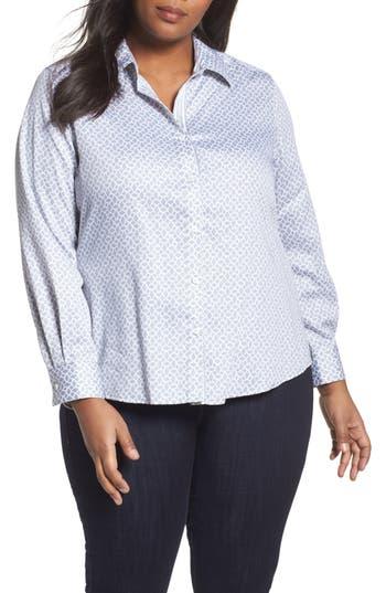 Plus Size Foxcroft Ava Geo Print Shirt, Grey