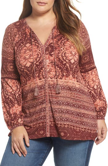 Plus Size Lucky Brand Mixed Print Top, Burgundy
