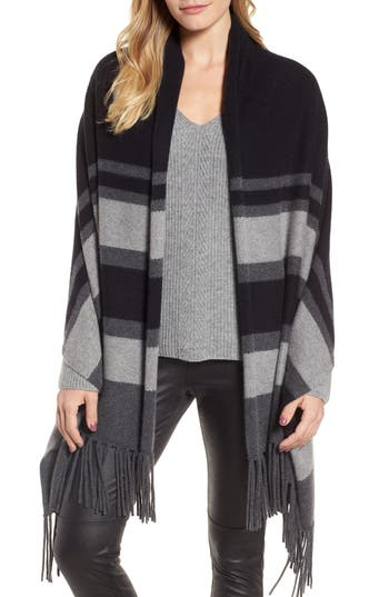 Women's Nordstrom Collection Stripe Cashmere Wrap, Size One Size - Black