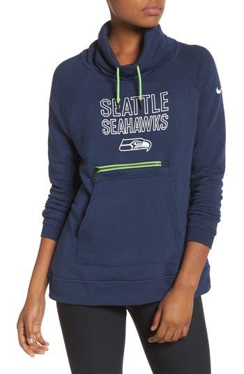 Nike Seattle Seahawks Funnel Hoodie, Blue