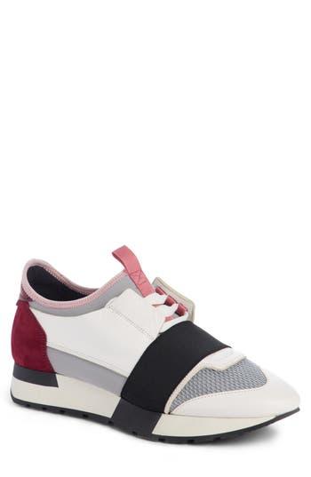 Balenciaga Mixed Media Trainer Sneaker, White