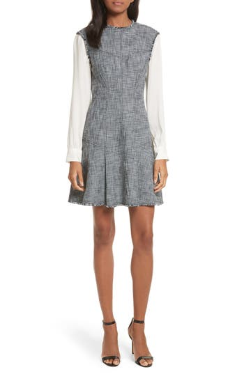 Rebecca Taylor Slub Suiting Fit & Flare Dress, Grey