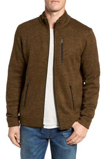 Tailor Vintage Sweater Knit Fleece Zip Front Jacket, Green